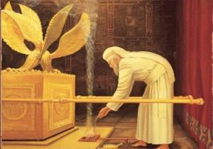 A főpap fűszeráldozatot mutat be jom kipurkor a Szentélyben