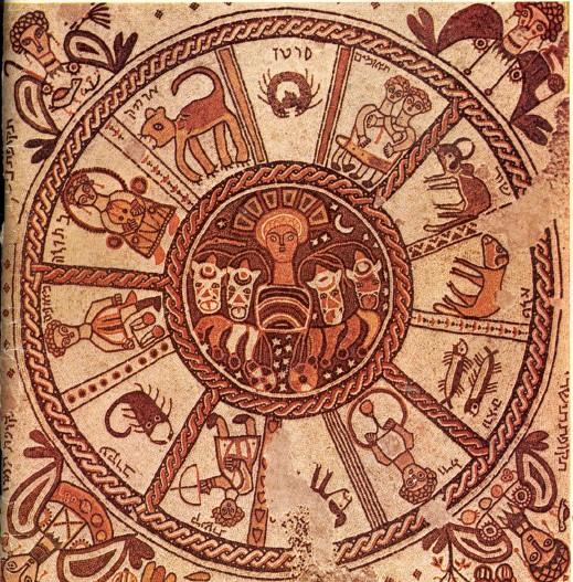 A Bét Alfa-i zsinagóga mozaikpadlójának középső eleme: a zodiákus