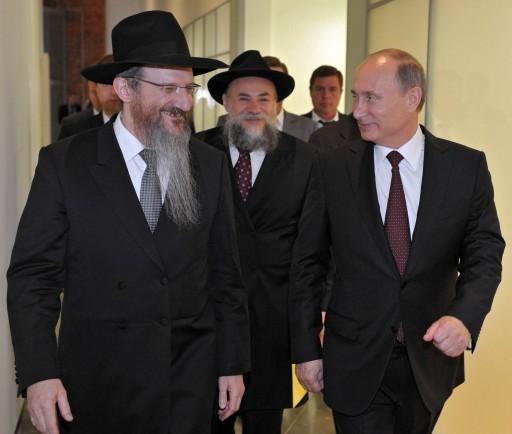 Berel Lazar orosz főrabbi Putin elnökkel és Boroda rabbival