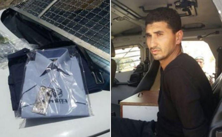 Az elfogott leendő terrorista és az általa használni kívánt rendőri egyenruha