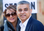 Sadiq Khan, the Labour Party candidate for London mayor, and his wife Saadiya Khan, pose for photographers after voting in the Mayor of London and London Assembly elections in London, U.K., on Thursday, May 5, 2016. Britain goes to the polls Thursday in a series of local and legislative elections that will deliver a new mayor for London, continued nationalist government in Scotland and the voters' first verdict on Jeremy Corbyn's leadership of the opposition Labour Party. Photographer: Simon Dawson/Bloomberg *** Local Caption *** Sadiq Khan; Saadiya Khan