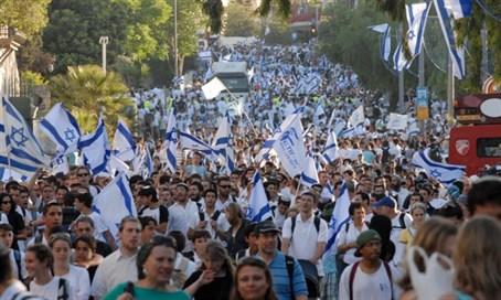 Zászlós felvonulás Jeruzsálemben