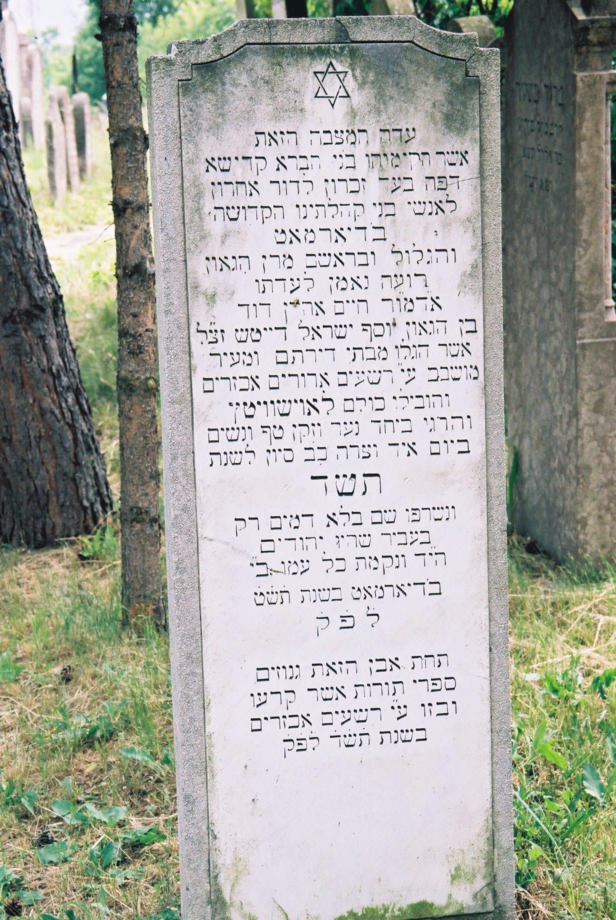 """""""E kő alatt vannak eltemetve azok a Tóratekercsek, amiket széttéptek és megrongáltak a kegyetlen gonoszok 5704-ben"""" – Ez olvasható Balassagyar- maton a Tórák nyughelye fölé 1949-ben emelt sírkövön, ami egyben a Holokauszt mártírjainak is emléket állít. Forrás: Berish Weber"""