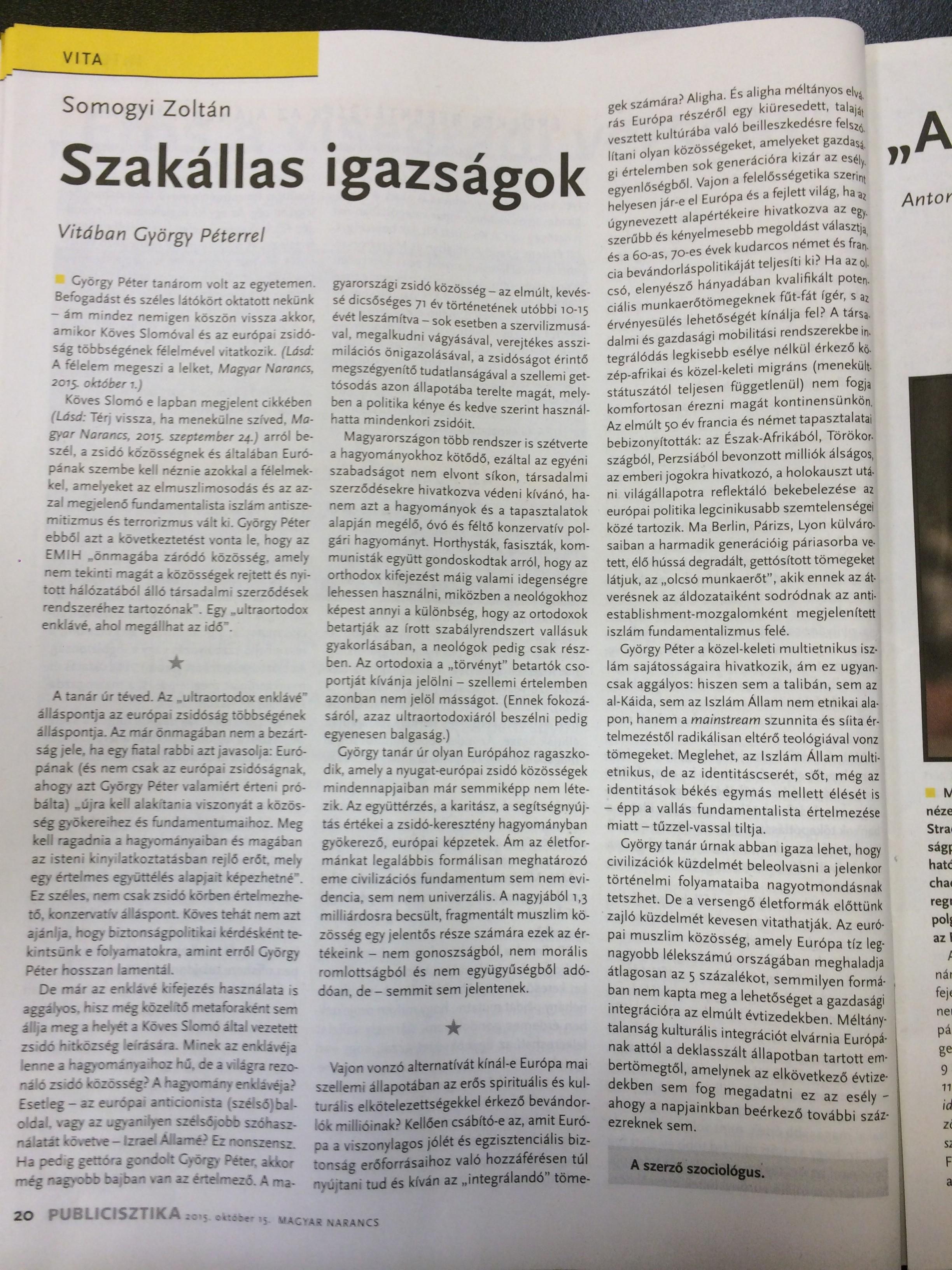 Folytatódik a vita a Magyar Narancsban