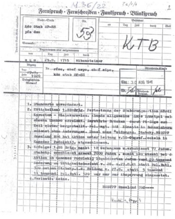 Friedrich Jeckeln 1941. augusztus 29-i rádiótávirata