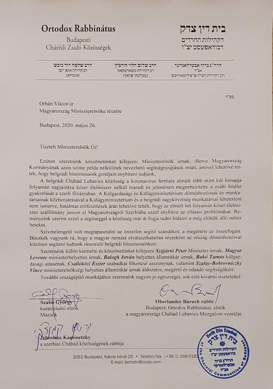 Köszönetet mondott Orbán Viktornak a zsidó közösség